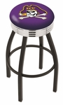 East Carolina University 25'' Black Wrinkle Finish Swivel Backless Counter Height Stool with Ribbed Accent Ring [L8B3C25ECAROL-FS-HOB]