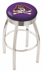 East Carolina University 25'' Chrome Finish Swivel Backless Counter Height Stool with 2.5'' Ribbed Accent Ring [L8C3C25ECAROL-FS-HOB]