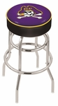 East Carolina University 25'' Chrome Finish Double Ring Swivel Backless Counter Height Stool with 4'' Thick Seat [L7C125ECAROL-FS-HOB]