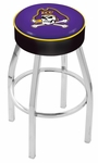 East Carolina University 25'' Chrome Finish Swivel Backless Counter Height Stool with 4'' Thick Seat [L8C125ECAROL-FS-HOB]