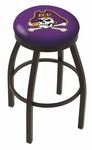 East Carolina University 25'' Black Wrinkle Finish Swivel Backless Counter Height Stool with Accent Ring [L8B2B25ECAROL-FS-HOB]