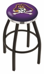 East Carolina University 25'' Black Wrinkle Finish Swivel Backless Counter Height Stool with Chrome Accent Ring [L8B2C25ECAROL-FS-HOB]
