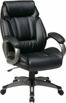 Work Smart ECH30627 Executive Eco Leather Chair with Padded Arms and Coated Base - Black [ECH30627-EC3-FS-OS]