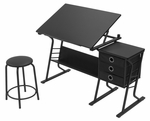 Eclipse Contemporary Craft and Storage Center with Stool - Black [13365-FS-SDI]