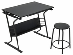 Eclipse 2 Piece Contemporary Craft Table and 20''H Stool - Black [13366-FS-SDI]