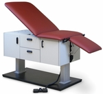 Econo-Line™ Power Clinic Examination Table - Left Handed in Folkstone Gray - 27''W X 56 - 74''L X 24 - 35''H [HAU-4436-FS-HAUS]