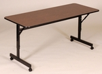 Adjustable Height Rectangular EconoLine Melamine Flip Top Table - 24''D x 60''W [FT2460M-CRL]