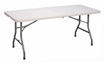 Economy Blow-Molded Rectangular Plastic Top Folding Table - 30''D x 72''W [CP3072FM-33-CRL]