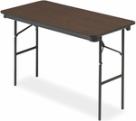 Economy 24'' W x 48'' D Wood Laminate Folding Table with Bullnose T-Mold Edge - Walnut [55304-ICE]