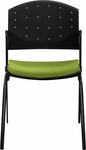 Eddy 4-Post Black Stack Side Chair with Upholstered Seat Pad [ED4010-FS-DV]