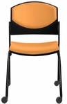 Eddy Armless Stack Side Chair on Casters with Upholstered Back and Seat Pads [ED4090-FS-DV]