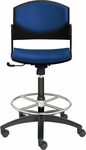 Eddy Medium Height Swivel Stool with Upholstered Back and Seat Pads [ED4420-660-FS-DV]