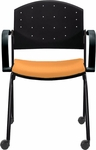 Eddy Stack Side Chair on Casters with Upholstered Seat Pad [ED4082-FS-DV]