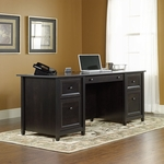 Edge Water 65''W x 29''H Wooden Executive Desk with Center Flip-Down Panel - Estate Black [409042-FS-SRTA]
