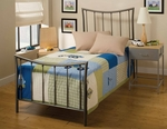 Edgewood Metal Bed Set with Rails - Twin - Magnesium Pewter [1333BTWR-FS-HILL]