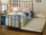 Edgewood Metal Bed Set with Suspension Deck and Trundle - Twin - Magnesium Pewter [1333BTWHTR-FS-HILL]