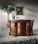 Edwardian Wooden and Laminated Marble 72''W x 42''H Bar Top with Brass Plated Footrest - Medium Brown [242500-FS-PUL]