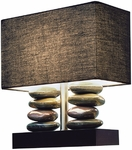 Elegant Designs Rectangular Dual Stacked Stone Ceramic Table Lamp with Black Shade [LT1036-BLK-FS-ATR]