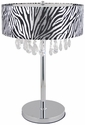 Elegant Designs Trendy Crystal and Chrome Table Lamp with Zebra Print Drum Shade