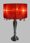 Elegant Designs Trendy Sheer Red Shade Table Lamp with Hanging Crystals [LT1034-RED-FS-ATR]