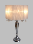 Elegant Designs Trendy Sheer White Shade Table Lamp with Hanging Crystals [LT1034-WHT-FS-ATR]