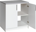 Elite 32'' Base Cabinet with 1 Adjustable Shelf and Stainless Metal Handles - White [WEB-3236-FS-PP]