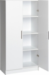 Elite 32'' Storage Cabinet with 3 Adjustable Shelves and Stainless Metal Handles - White [WES-3264-FS-PP]