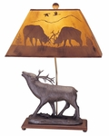 Resin Elk Statue Table 26''H Lamp with Rectangular Elk Scene Silhouette Shade - Brown [96T327-FS-PAS]