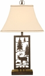 Nature Laser Cut Metal Elk and Tall Pine Trees 28''H Table Lamp with Linen Shade - Brown [10T207-FS-PAS]
