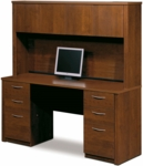 Embassy Credenza and Hutch Set with Utility Drawers and Filing Drawers - Tuscany Brown [60851-63-FS-BS]