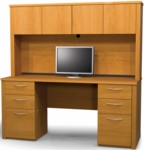 Embassy Credenza and Hutch Set with Utility Drawers and Filing Drawers - Cappuccino Cherry [60851-68-FS-BS]