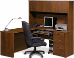 Embassy L-Shaped Workstation Kit with Keyboard Shelf and 1 Filing Drawer - Tuscany Brown [60865-63-FS-BS]