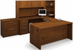 Embassy U-Shaped and Hutch Assembly with Locking Drawers and Keyboard Shelf - Tuscany Brown [60860-63-FS-BS]