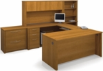 Embassy U-Shaped and Hutch Assembly with Locking Drawers and Keyboard Shelf - Cappuccino Cherry [60860-68-FS-BS]