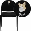 Embroidered Black Fabric Comfortable Stackable Steel Side Chair