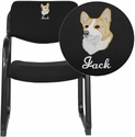 Embroidered Black Fabric Executive Side Chair with Sled Base