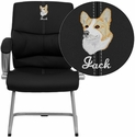 Embroidered Black Leather Executive Side Chair