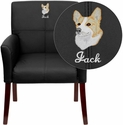 Embroidered Black Leather Executive Side Chair or Reception Chair with Mahogany Legs