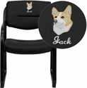 Embroidered Black Leather Executive Side Chair with Sled Base