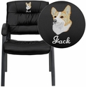 Embroidered Black Leather Executive Side Chair with Titanium Frame Finish