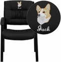 Embroidered Black Leather Guest / Reception Chair with Black Frame Finish