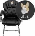 Embroidered Black Leather Transitional Side Chair with Padded Arms and Sled Base