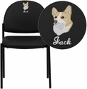 Embroidered Black Vinyl Comfortable Stackable Steel Side Chair