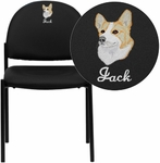 Embroidered Black Vinyl Comfortable Stackable Steel Side Chair [BT-515-1-VINYL-EMB-GG]