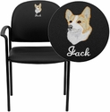 Embroidered Black Vinyl Comfortable Stackable Steel Side Chair with Arms