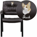 Embroidered Brown Leather Guest / Reception Chair with Black Frame Finish