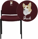 Embroidered Burgundy Fabric Comfortable Stackable Steel Side Chair