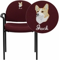 Embroidered Burgundy Fabric Comfortable Stackable Steel Side Chair with Arms