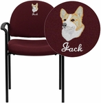 Embroidered Burgundy Fabric Comfortable Stackable Steel Side Chair with Arms [BT-516-1-BY-EMB-GG]