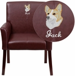 Embroidered Burgundy Leather Executive Side Chair or Reception Chair with Mahogany Legs [BT-353-BURG-EMB-GG]